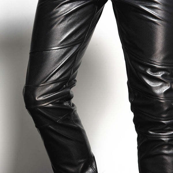 Italy Mens Genuine Leather Skinny Pants Plus Size Motorcycle Biker Slim Fit Male Trousers Rock 100% Real Pencil Pants