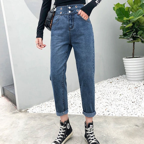 Hollow out two button high waist summer woman new style jeans ankle length pants lady sexy & club harem jeans