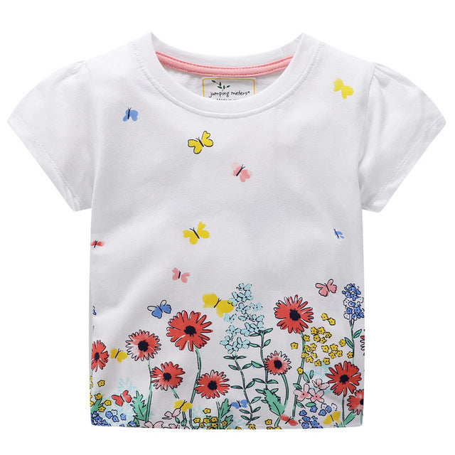 1be53fb8a85c jumping meters Applique Girls T shirts Bunny Baby Tees Top Summer ...