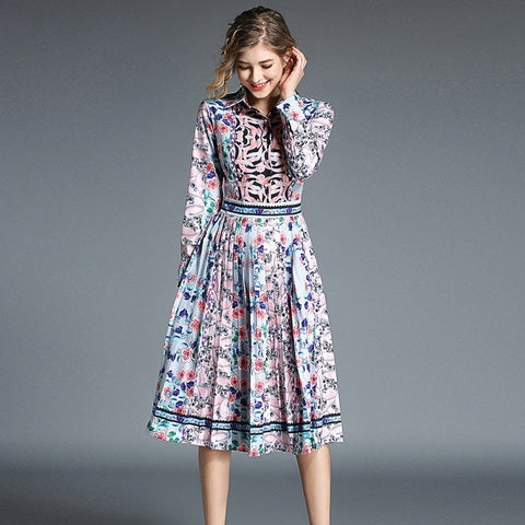 Autumn Long-sleeved Print Retro Dress Women Designer Dresses Runway High Quality Party Dress Lange