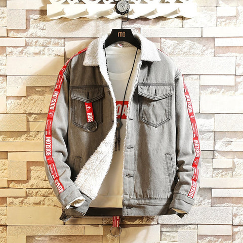 Winter Lamb Fleece Thick Denim Jacket Men Warm Letter Ribbons Streetwear Slim Bomber Jeans Jacket Homme Plus Size XXXL