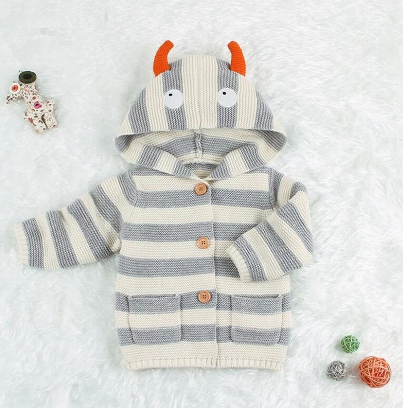 Baby Sweater Winter Spring Hooded Baby Cardigan Cartoon Toddler Sweaters For Boys Cotton Knitted Infant Baby Coat and Jacket