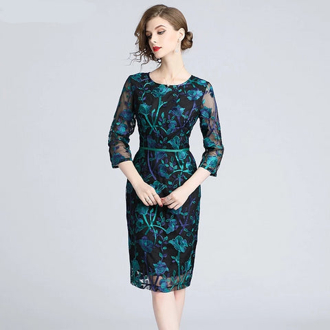 Autumn Green Embroidered Lace Bodycon Dress  Ladies Bandage Dress Feminina