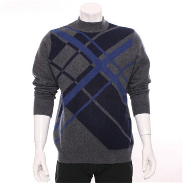 Hajotrawa Men Fall Thick Stylish Contrast Colors Round-Neck Knit Pullover Sweaters
