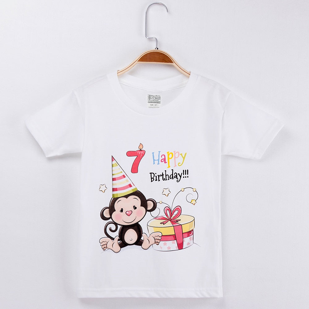 T Shirt Birthday Clothes For Boys 100 Cotton Kids Cartoon Clothing Se