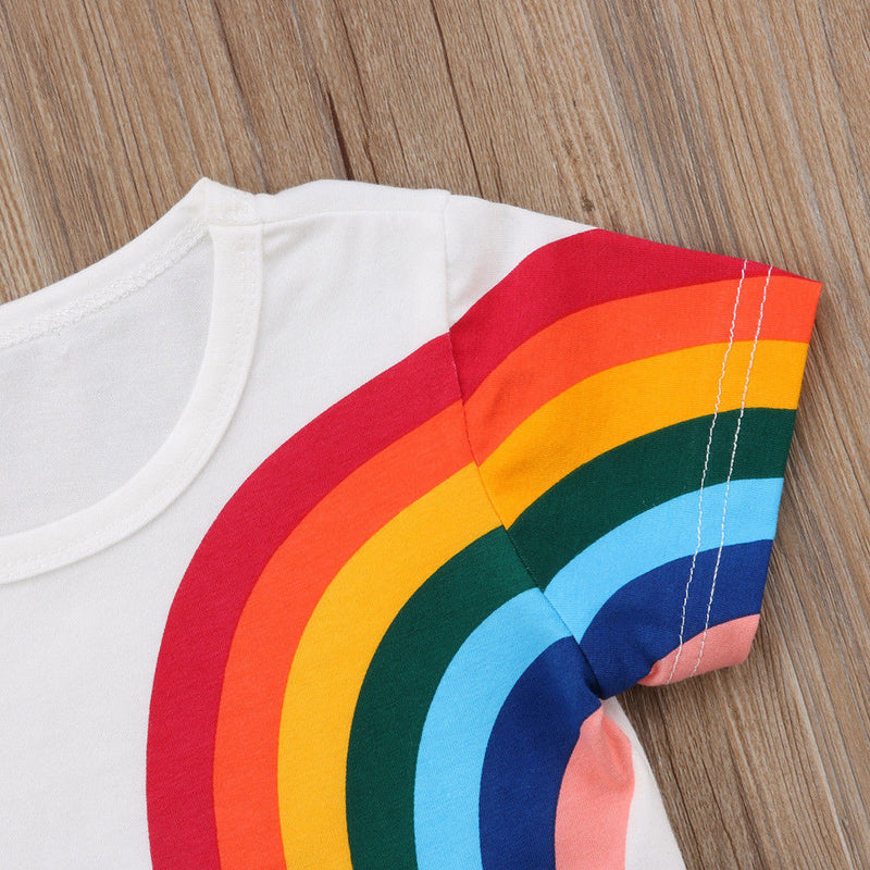 Girl T-Shirt 1Y-6Y Fashion Kids Baby Girls Casual Rainbow Tassel Patchwork Cotton T-shirt Tops