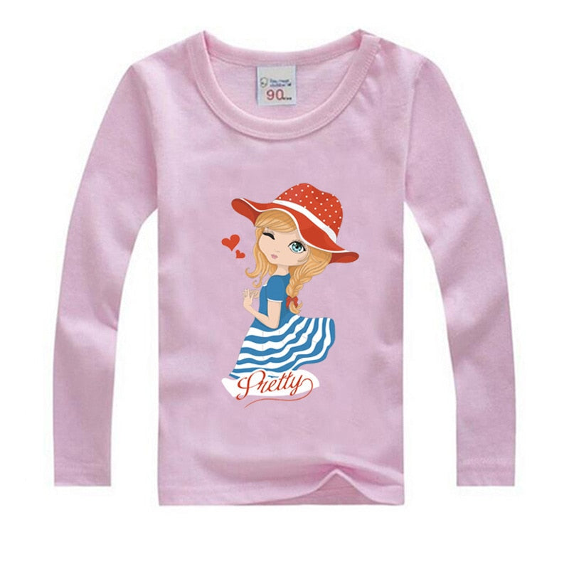 Girls Long Sleeve T Shirts For Children  Autumn Cute T-shirt Cotton 1 -15 Year Kids Clothing Baby Girls Tops Tees Clothes