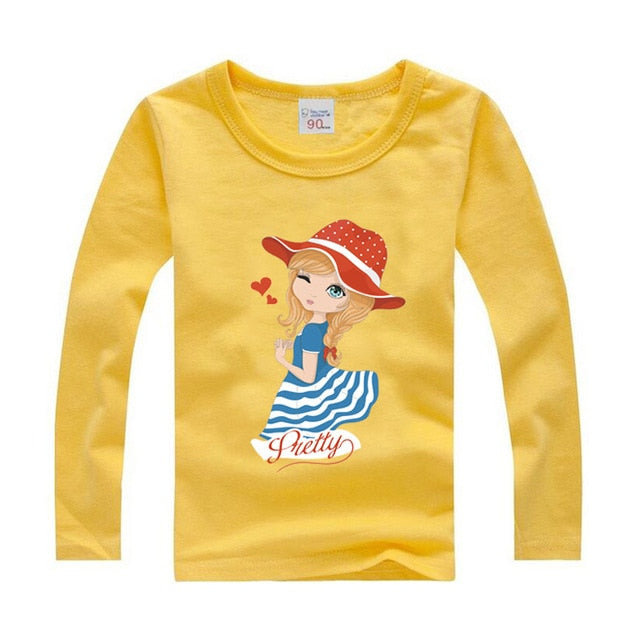 88d4e00c ... Girls Long Sleeve T Shirts For Children Autumn Cute T-shirt Cotton 1  -15 ...