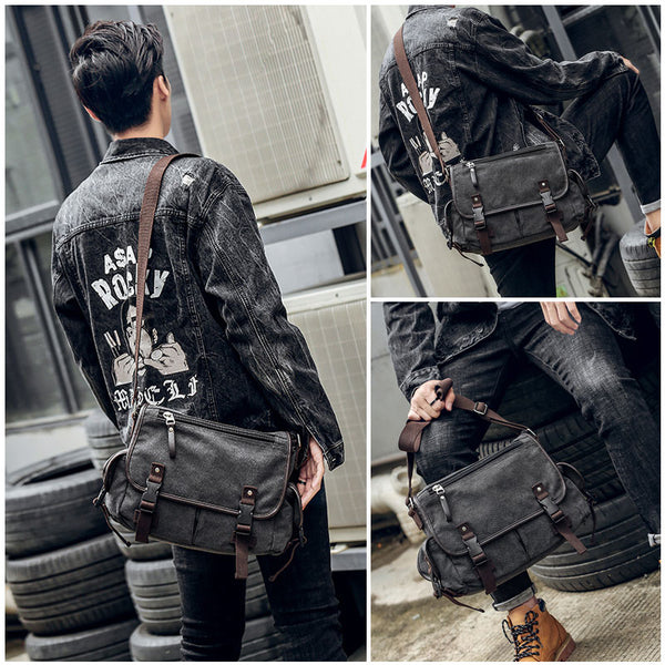 Vintage Men's Shoulder Bag Travel Crossbody Bags Causal Canvas Messenger Bag Patchwork Multi-function Laptop Handbag School Tote