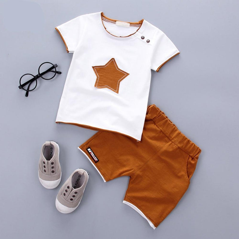 2PCS Suit Baby Boy Clothes Children Summer Toddler Boys Clothing Set Cartoon Kids Applique Stars Tops Shorts