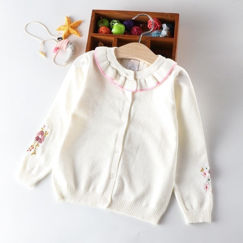 spring baby girl cardigan long sleeve pink white embroidery flower ruffles children girl sweater kids clothes school