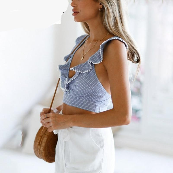 Elegant ruffle stripe print tank top Sexy V backless summer crop top cami Women lace up casual camisole tank blouse