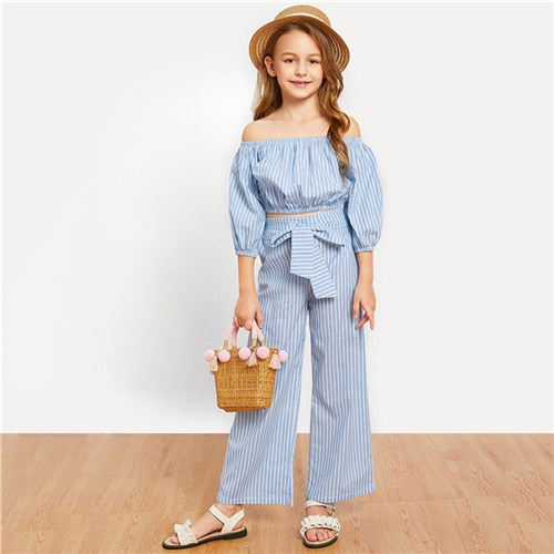 Mother & Kids Search For Flights New Family Matching Sets Women Daughter Jumpsuit Ladies Off-shoulder Blue Striped Belt Romper Trousers