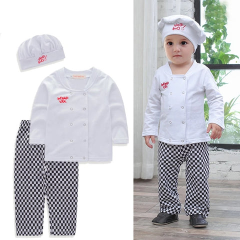 Baby boys sets chef play suit cotton white shirt+plaid pants+hat long sleeves toddler kids clothes outfit kids party costume