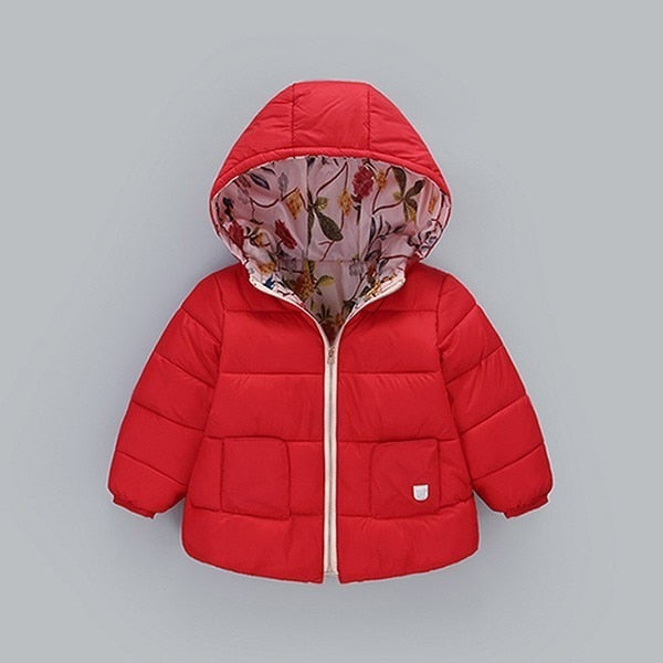 New Winter Cotton Jackets For Girls Boys Children Clothing Thick Coats Overalls Hooded Baby Kids Outerwear JH104