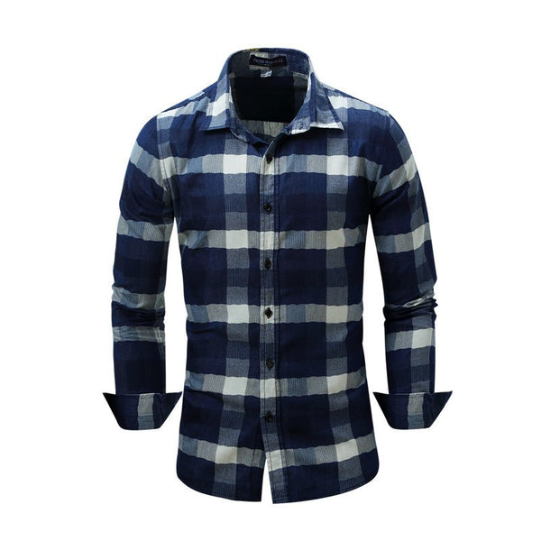 Blue Plaid Long Sleeve Shirts Men Spring New Check Shirt Cotton Slim Fit Casual Style Button-down Male Clothing EU Size