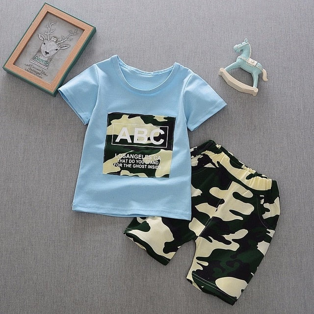 New Summer Army Camouflage Baby Boy Girl Cotton Short Sleeve Shorts 2PCS/Set Top Newborn Clothing Infant Suits Kids Clothes