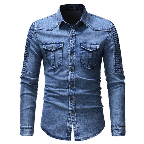 Men's Spring and Autumn Washed Pleated Pocket Single-breasted Denim Shirt / Premium European and American Slim Long Sleeve