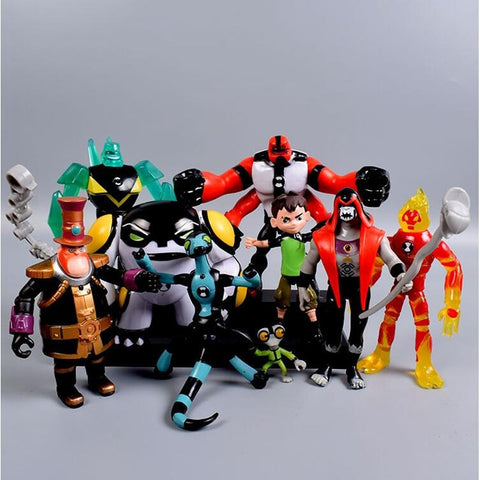 9pcs/set Ben 10 Ben PVC Action Figure 10 Ben Tennyson Four arms Grey Matter Kineceleran Diamondhead Heatblast Kids Toys Gifts