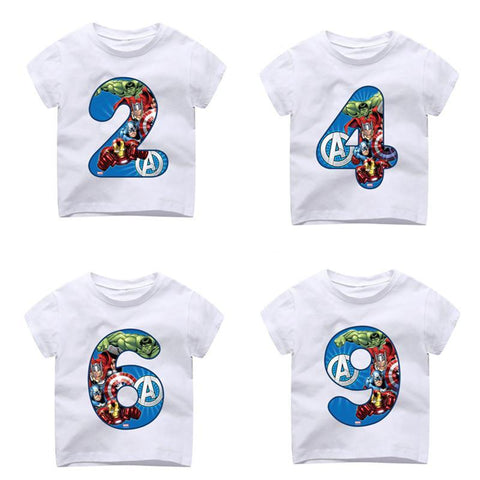 Kid's Happy Birthday Avengers Number 1~9th T-shirts Boy and Girl Superhero Tshirt Baby Spiderman Number Top Children Clothes