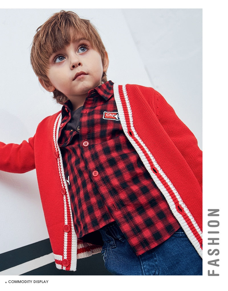 377bb9c50 ... Kids Boys Fine-Knit Cardigan Children Toddler Boys Contrasting Cardigan  Sweater with Front Button Autumn ...