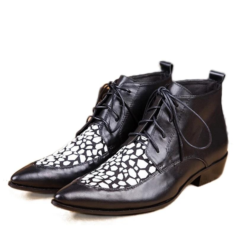 Free Ship! Man's Black leather boots pointed Fashion male boots man's leather business shoes