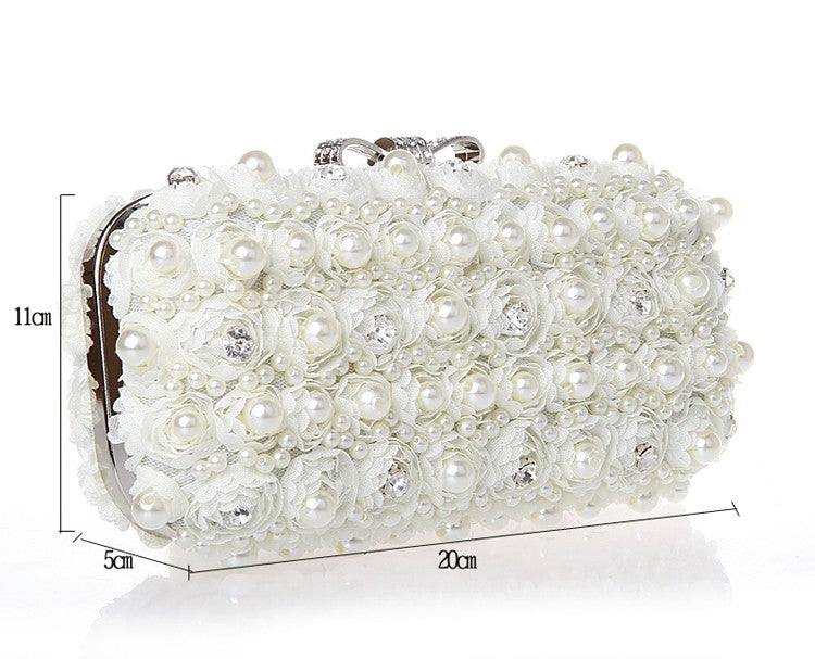 ... White Flowers Evening Hand Bag Noble Ladies Pearl Wedding Party Dressed  Clutch BagsRhinestone Bow Mini Purse ... a30e0a97a184