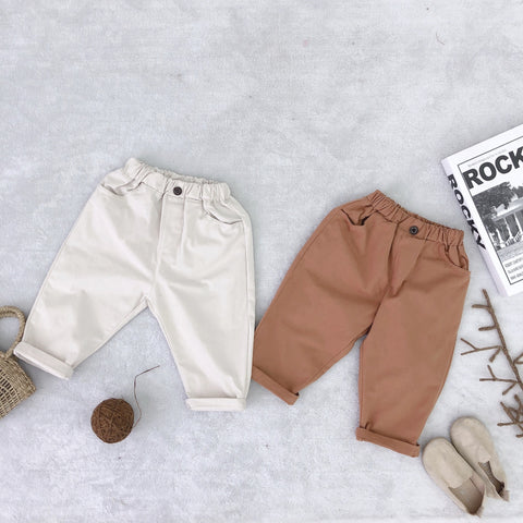 Children's Wear New Children's Plain Pants Boys And Girls'casual Pants Cotton Loose Wide Leg Pants