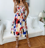 Summer Elastic Sunflower print beach dress women Sexy Spaghetti strap Mid-Calf A-line dress Lady ruffles belt dress