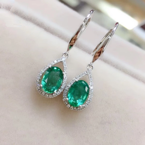 18k gold natural emerald hook earring with natural diamond fine jewelry for women