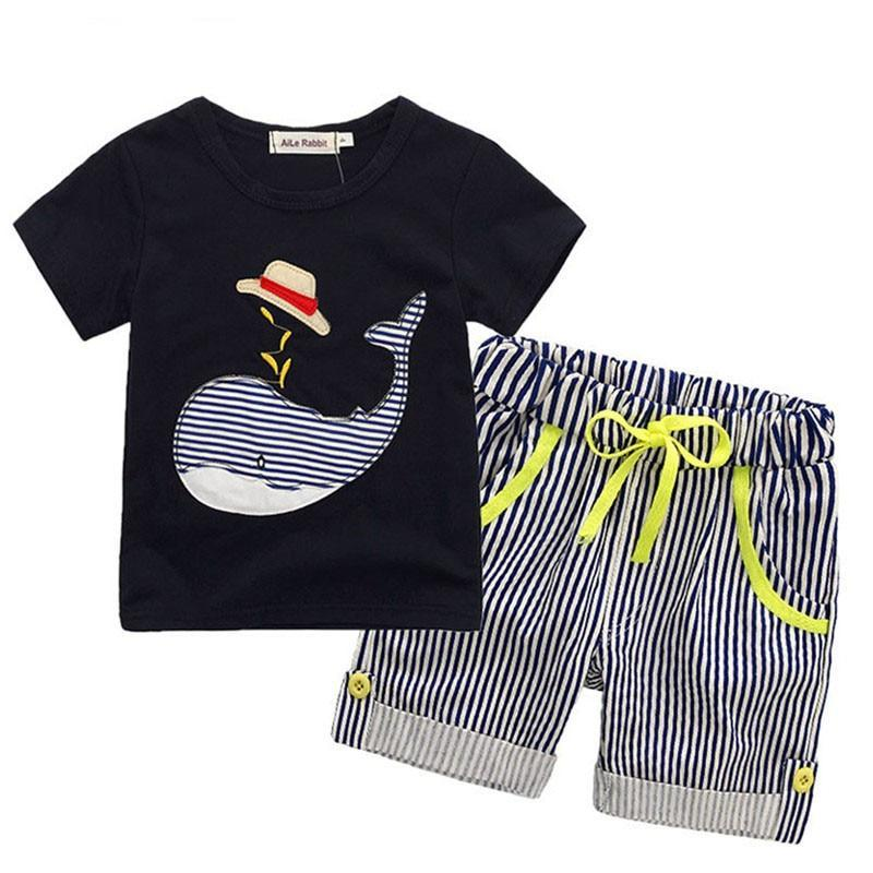 Toddler Baby Kids Boys Shirt+shorts Fashion Summer Cotton children clothing set