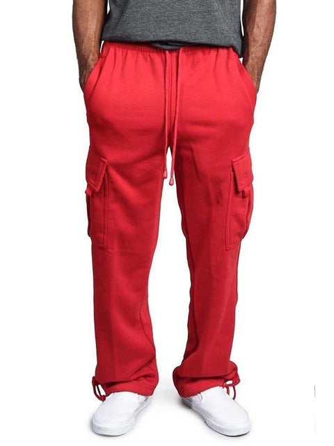 Loose straight pocket cargo pants men hip hop dance sweatpants Streetwear joggers male long pants trousers for men