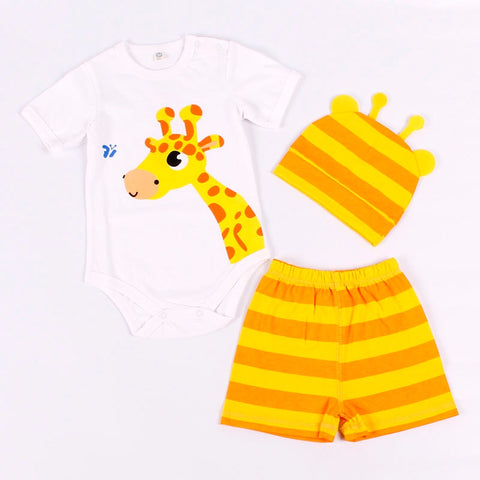 Summer Baby Rompers Set Cotton 8 Style Kids Clothes Boy and Girl Short Sleeve And Pants Set Cute Animal 3 PCS (0-24M)
