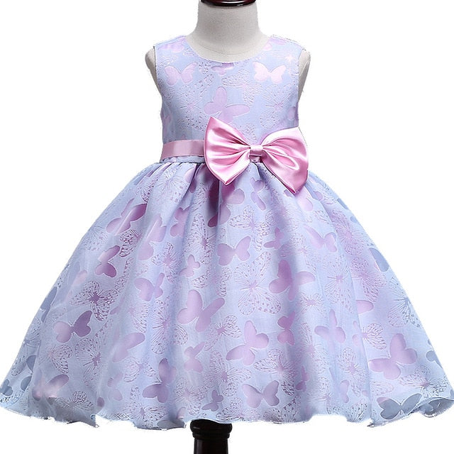 Summer NEW Girls Dress Baby girls purple Print butterfly Dresses with flower girl dresses dress eveving party for 10yrs BOW
