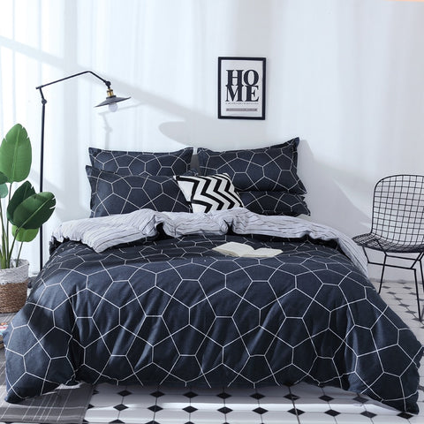 bed linen 3/4pcs bedding set Geometric stirpe bedclothes AB side duvet cover + flat sheet + pillowcase home textile
