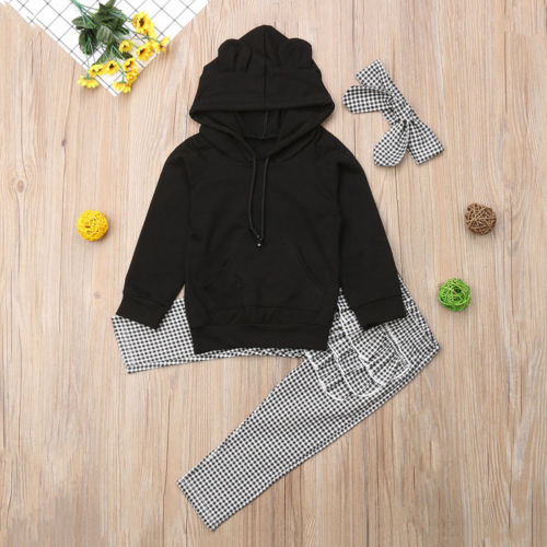 USA Newborn Toddler Baby Girl Outfits Clothes Set Hooded Top+Ruffle Plaid Pants