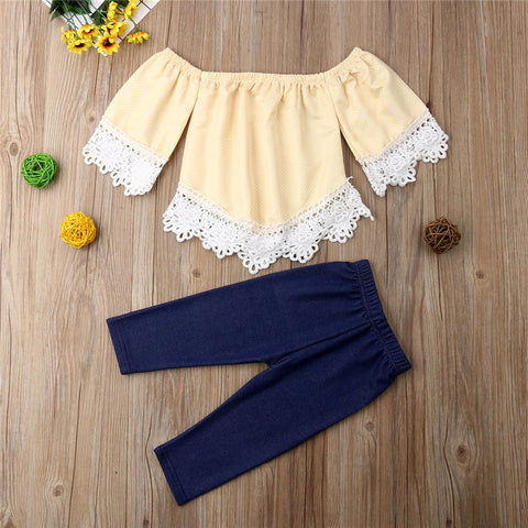 Off Shoulder Short Sleeve T-shirt Tops Pants Outfits Cute Casual Summer Solid Toddler Kids Girl Baby Clothes Set