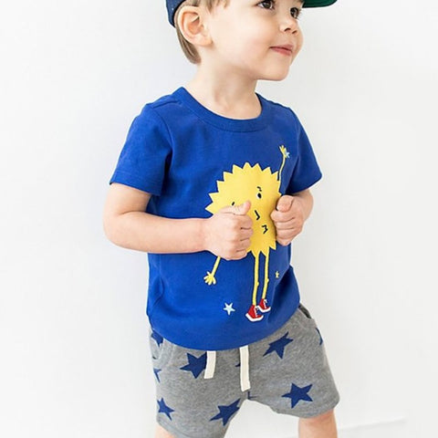 summer baby boys clothes cotton children's sets t shirt + star print shorts 20209