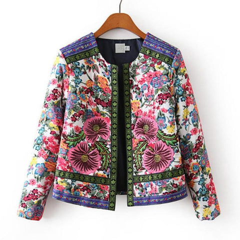 Fashion female jacket spring and autumn Outerwear round neck embroidery jacket Slim printed short jacket LR3
