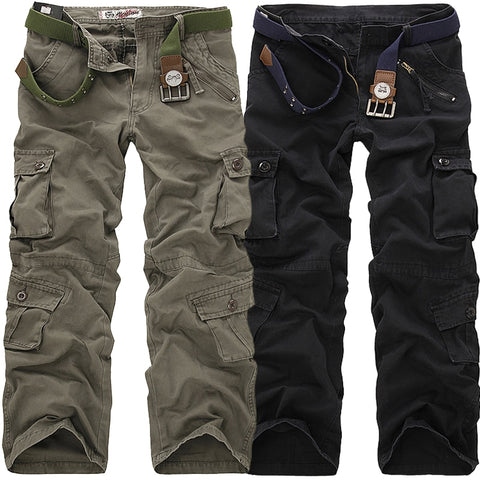 High Quality Men's Cargo Pants Casual Loose Multi Pocket Military Pants Long Trousers for Men Camo Joggers Plus Size 28-40