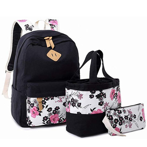 "3pcs/set Student Canvas Bookbag Backpack for School Girls Kids School Bag Teens Bookbag Set Water Resistant 15"" Laptop Daypack"