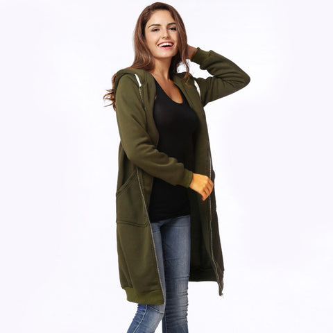 5XL Plus Size Fashion Women Hoodies Clothes Long Hooded Sweatshirt Women Coat Casual Pockets Zipper Solid Outerwear