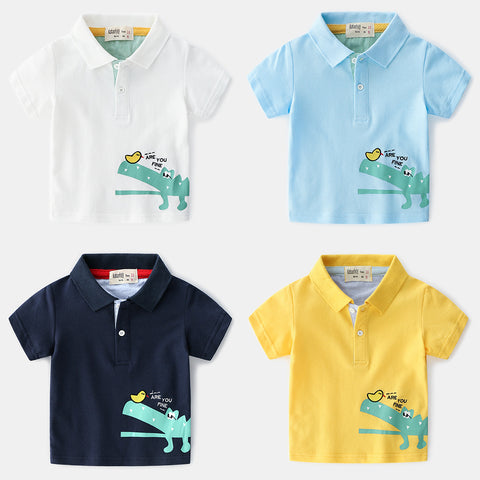 Kids Polo Shirts Cartoon Crocodile Boy. School Clothes Short Sleeve Boys Tees And Polos Breathable Polo Shirts