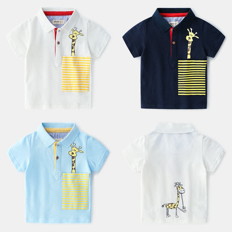 Boys Tees And Polos Cartoon Giraffe Poloshirt Kids Boys Summer Short Sleeve Polo Shirt For Boy. School Clothes