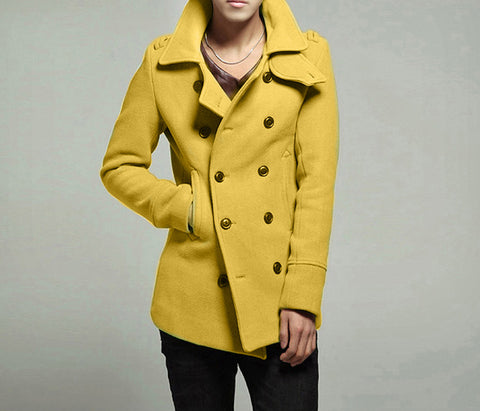 Autumn Winter Mens Wool Overcoat Stylish Double Breasted Blends Trench Coat Men Jacket Outwear Male Abrigo Hombre