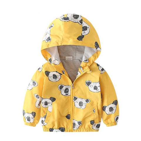 New summer autumn baby outerwear & coats 2Y 5Y animal print toddler boys girls hooded jackets casual yellow tops clothing