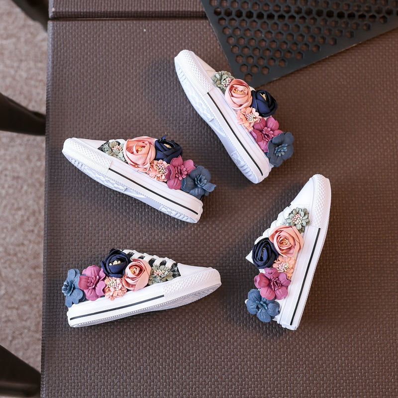 Beading Kids Shoes Low Top Autumn Children's Shoes Flower Girls Canvas Shoes Casual Sneakers Lace