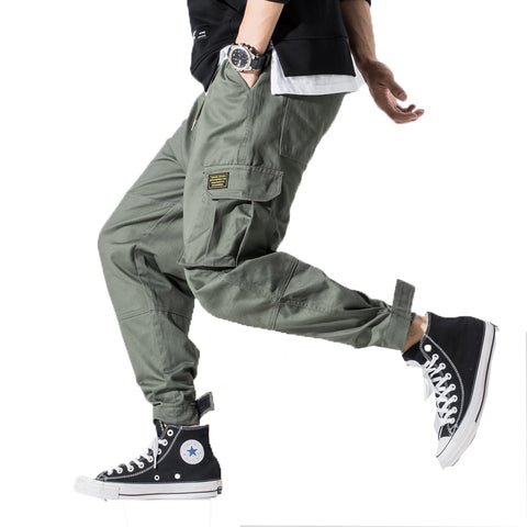 Men Multi-pocket Cargo Pants Mens Design Elastic Waist Harem Pant Street Punk Hip Hop Casual Male Army Trousers Joggers 5XL