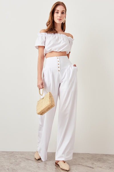 Detailed plenty Leg Pants White Button