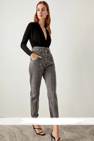 Front Anthracite High Waist Button Super Mom Jeans